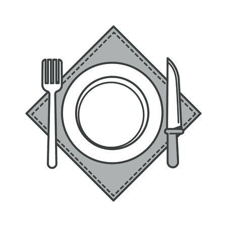 Plate with fork and knife on napkin, cutlery or table setting Ilustrace
