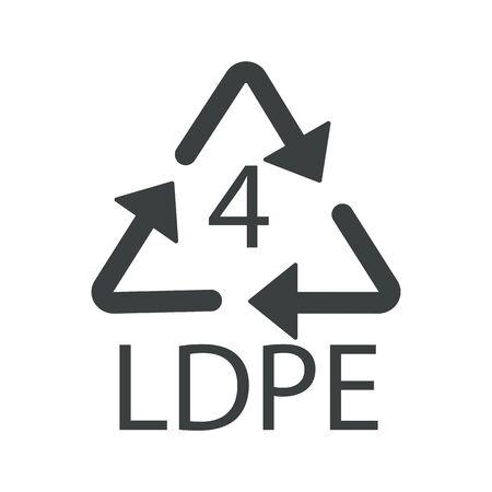 Reciclar flechas triángulo, símbolo de reciclaje de plástico, LDPE 4 Ilustración de vector