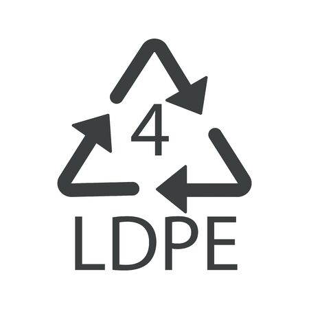 Recycle arrows triangle, plastic recycling symbol, LDPE 4
