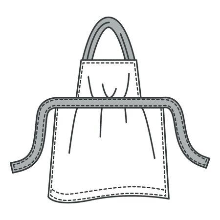Cotton kitchen apron, home textile, protective uniform, isolated object 일러스트