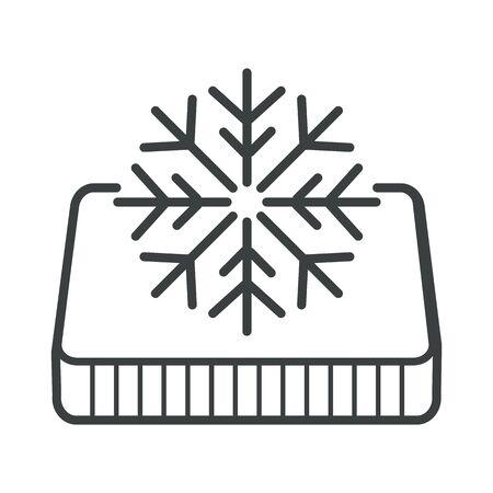Winter side of orthopedic mattress, snowflake symbol isolated icon