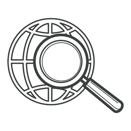 Worldwide search, globe and magnifying glass, isolated icon