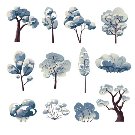 Bare trees and bushes under snow, winter nature Vector Illustratie