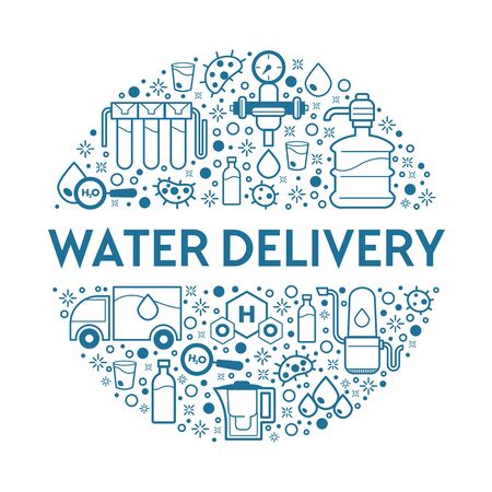 Truck and bottles or gallons, water delivery service, drinking liquid supply