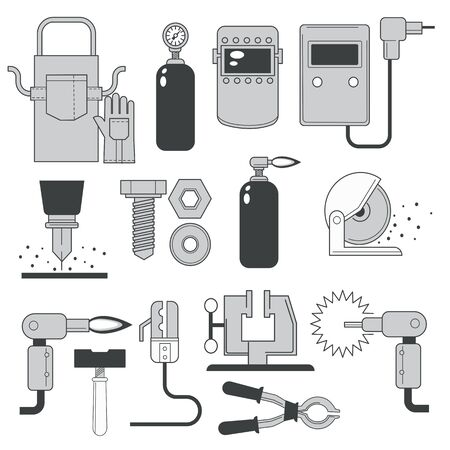 Building and repair tools, welding and sawing toolkit isolated icons