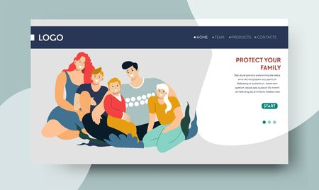 Protect your family, travel insurance service landing web page
