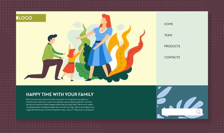 Healthy lifestyle, family outdoor activities, landing web page  イラスト・ベクター素材