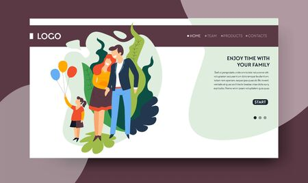 Family time landing web page template, healthcare and lifestyle