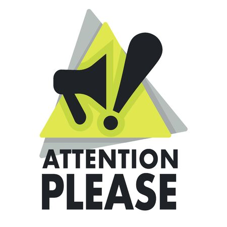 Megaphone and exclamation mark, attention please sign, isolated icon Stock Illustratie