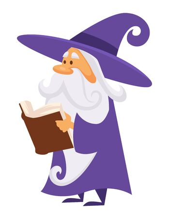Magic old man enchanter or wizard with book, isolated male character vector. Magician reading spell or charm, magician with long beard beard in mantle. Alchemy recipes and mystic enchantments