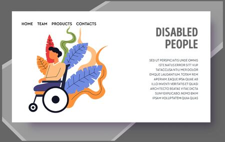 Child with special needs, disabled people landing web page template Illusztráció