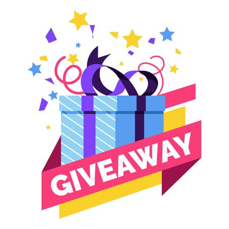 Gift box, giveaway isolated icon, social media post