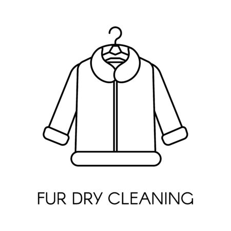 Fur dry cleaning, clothing care company service vector
