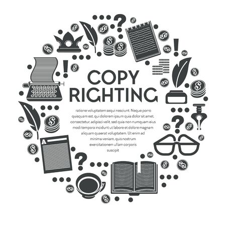 Copy righting poster with typewriter and notebooks in circle