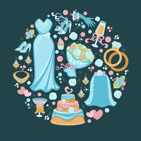 Wedding symbols, bridal dress and veil, cake and rings