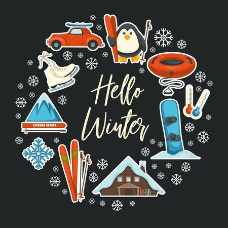 Hello winter greeting card, seasonal sport and active holidays