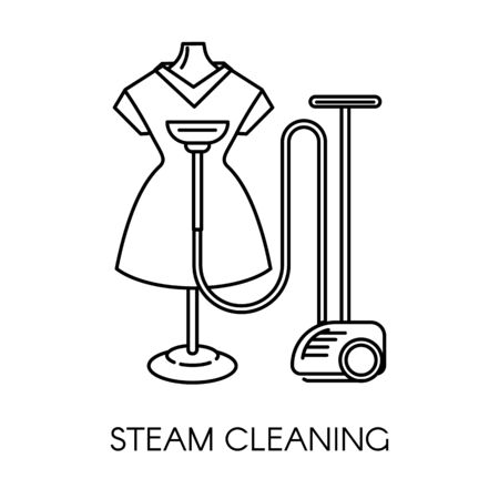 Steam cleaning service of company dress on mannequin and machine Stok Fotoğraf - 131198218