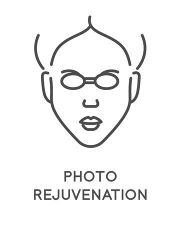 Cosmetology and skincare, photo rejuvenation isolated line icon Ilustração