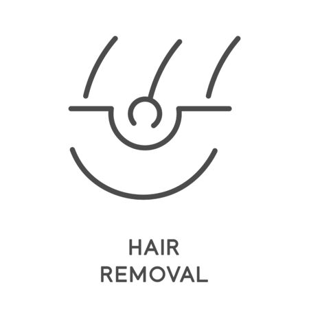 Hair removal, sugaring or waxing, laser and shaving isolated line icon