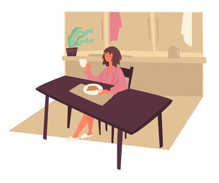 Woman eating morning breakfast at kitchen and drink coffee
