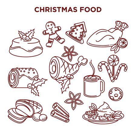 Winter holidays celebration, Christmas food, isolated dishes icons