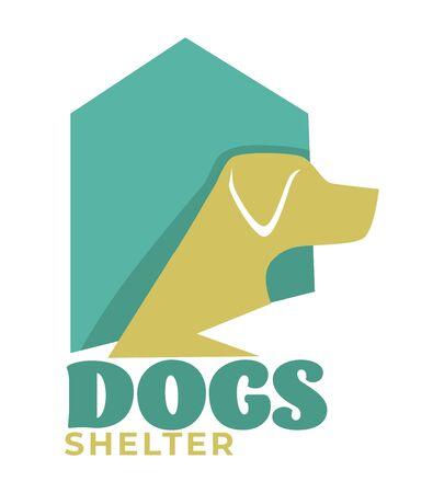Dog shelter or pet shop isolated icon, domestic animal adoption