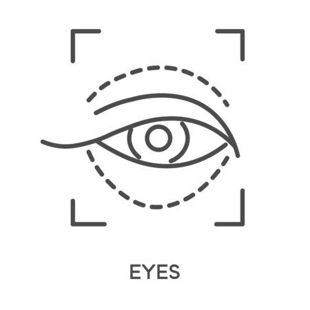 Cosmetics, eye area anti wrinkle injection, isolated icon