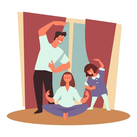 Healthy family, sport and exercising, meditation and fitness Illustration