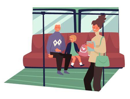 Public transport interior, passengers of underground, subway train