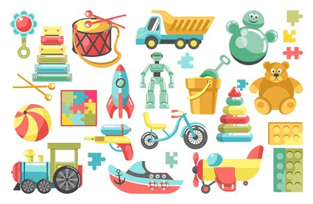 Childish toys from kindergarten, bear and pyramid, train and truck Ilustrace