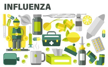 Influenza treatment, cold or flue medication, sick man and pills