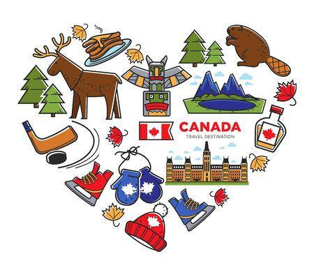 Canada travel destination, Canadian national symbols, traveling and tourism Vector Illustratie