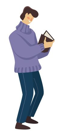 Education and literature, man reading book, isolated character  イラスト・ベクター素材