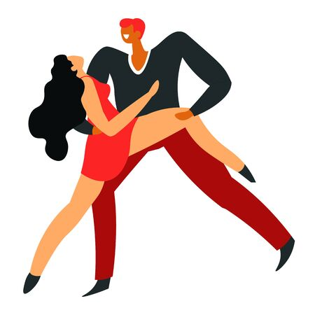 Ballroom dance, pair dancing tango, isolated characters