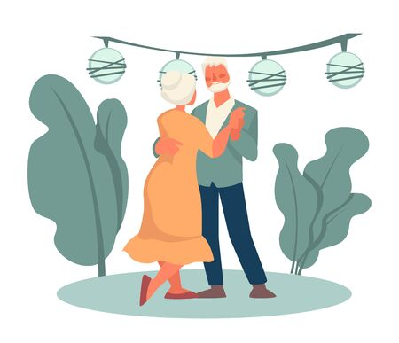 Grandmother and grandfather dancing in park, happy retirement, date