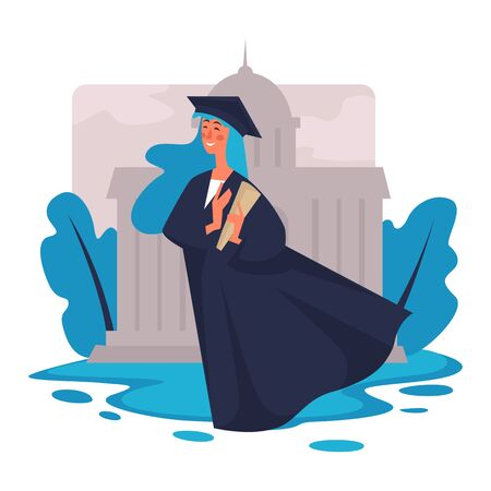 Graduation, girl in academic hat and mantle with diploma, university student  イラスト・ベクター素材