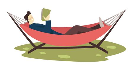 Guy reading book in hammock, leisure and education, isolated character