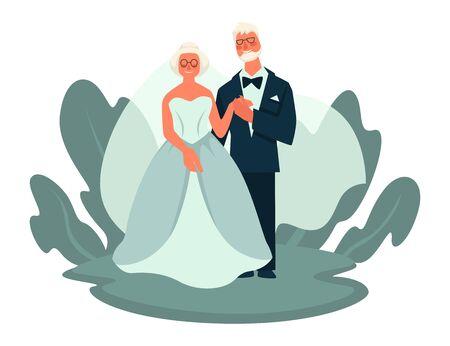 Old couple wedding day, elderly bride and groom