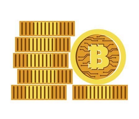 Bitcoins stack, cryptocurrency pile, stock exchange isolated icon 일러스트