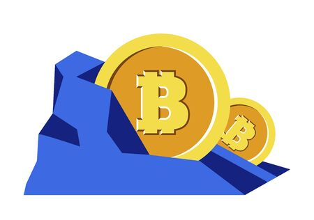 Bitcoins mining, cryptocurrency in rock, digital money, isolated icon