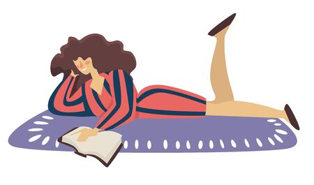 Reading book on floor, isolated woman lying on carpet