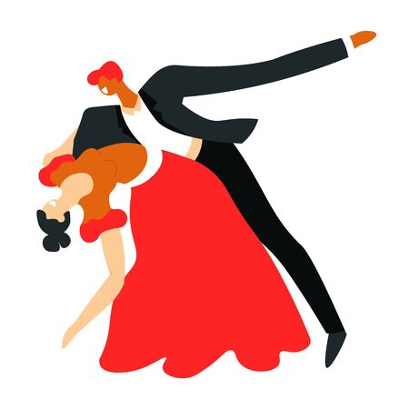 Ballroom dance, dancers couple dancing tango, isolated characters Çizim