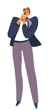 Cold or flu, man sneezing with handkerchief in hand, isolated character  イラスト・ベクター素材
