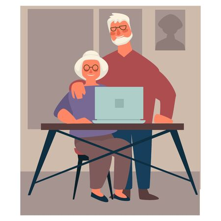 Grandparents using laptop, elderly couple surfing Internet Çizim