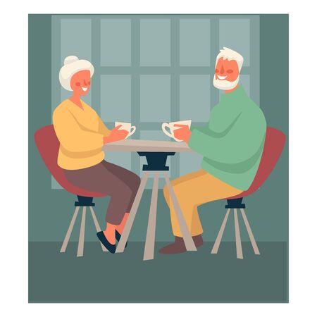 Elderly couple drinking tea at table, happy retirement