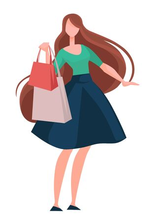 Brunette woman shopping with brown long hair and bags