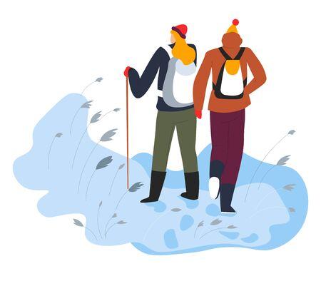 Hikers walking on snow with trekking pole and backpacks Illusztráció