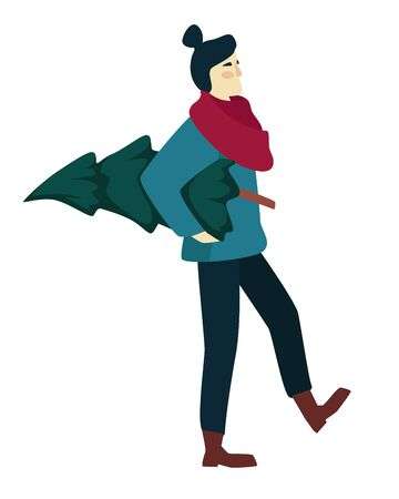 Woman shopping and carrying Christmas tree in winter