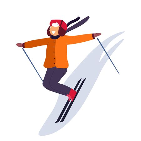 Kid skiing down the slope and winter holidays outdoors activity Ilustração