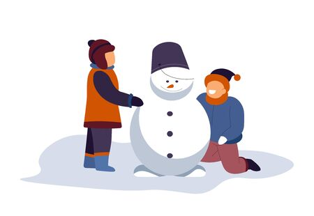 Boys building snowman with bucket on top. Friends, brothers, siblings playing outdoors at snowy playground. Winter holidays season play time, childhood activity. Vector illustration, white background.